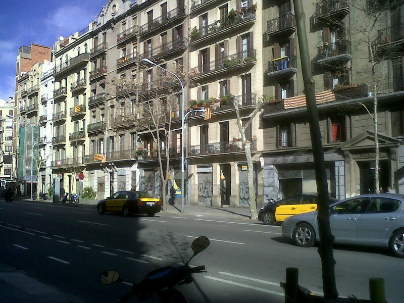 2013: A block in Barcelona's Eixample district with shops all closed down