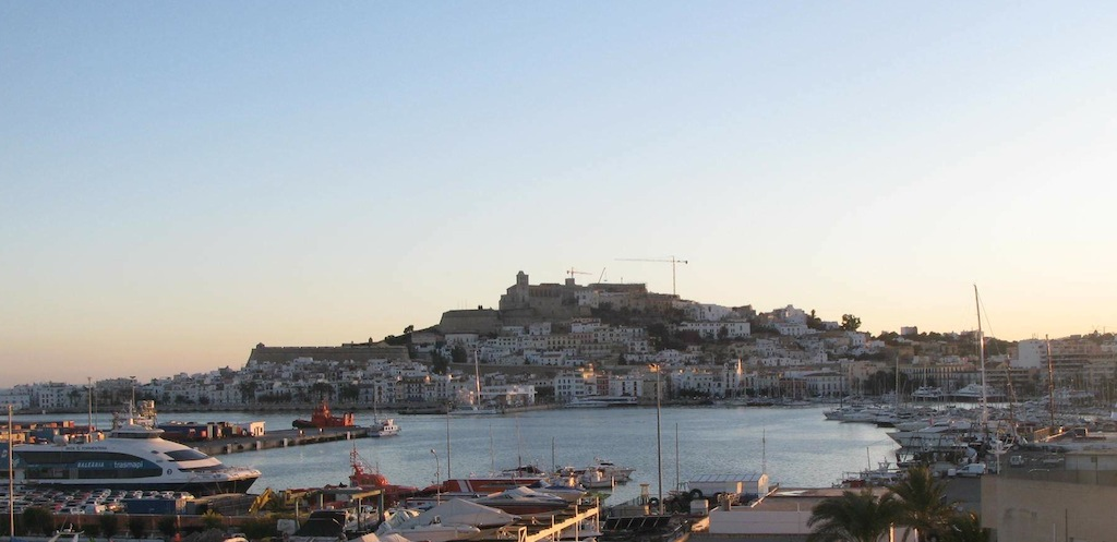 Views across the Marina to Ibiza's Dalt Vila at sunset