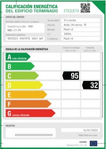 Example Spanish home energy efficiency certificate