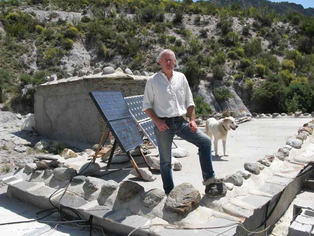 Environmentalist and author Chris Stewart at his organic farm in the Alpujarras, where solar power is the only source of electricity
