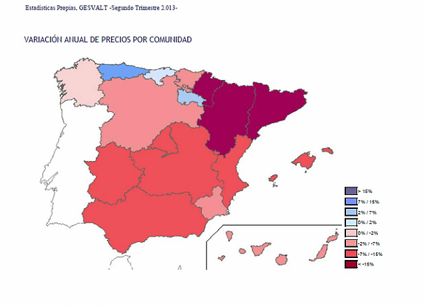Gesvalt Spanish house price decline regional map