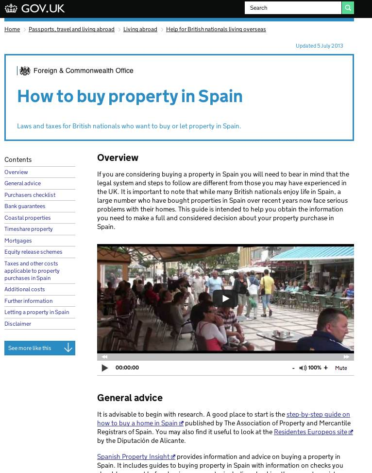Screenshot of the Foreign & Commonwealth Office guide to buying property in Spain