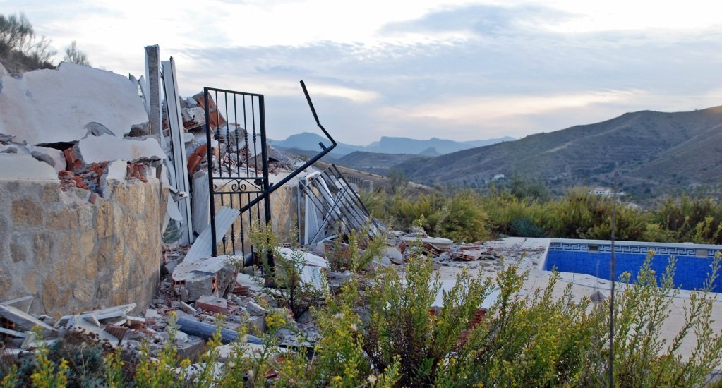 Demolition illegal houses in Cantoria, Andalucia