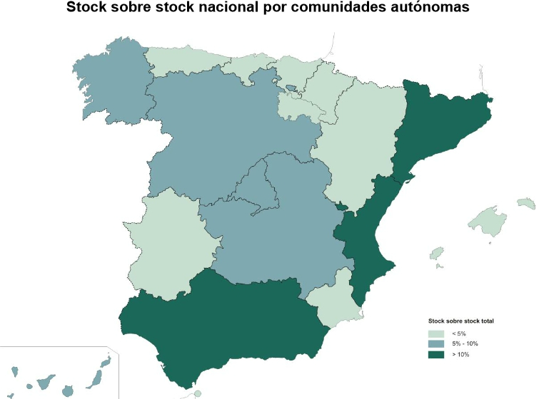 Spanish glut of new homes 2012 by region