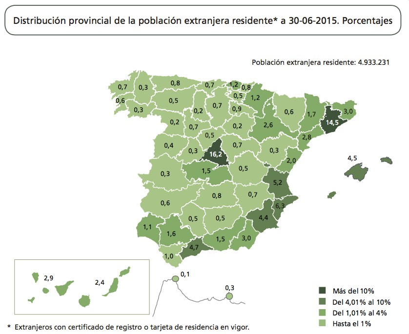 Provincial map of Spain showing percentage of foreign residents living in each area.