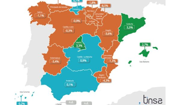 Tinsa Spanish house price index 2015. Regional variations.