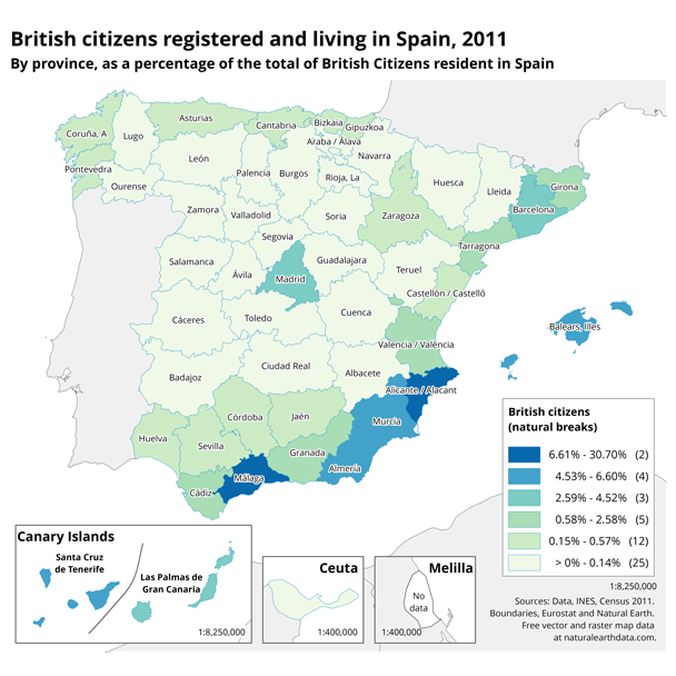 Report on the british expatriate population living in spain british expats resident in spain by spanish region 2011 map gumiabroncs Images