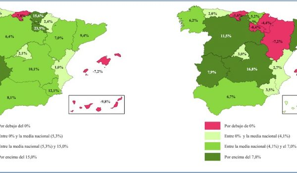 Left map = annualised change in Spanish home sales by region, right = change in Spanish house prices