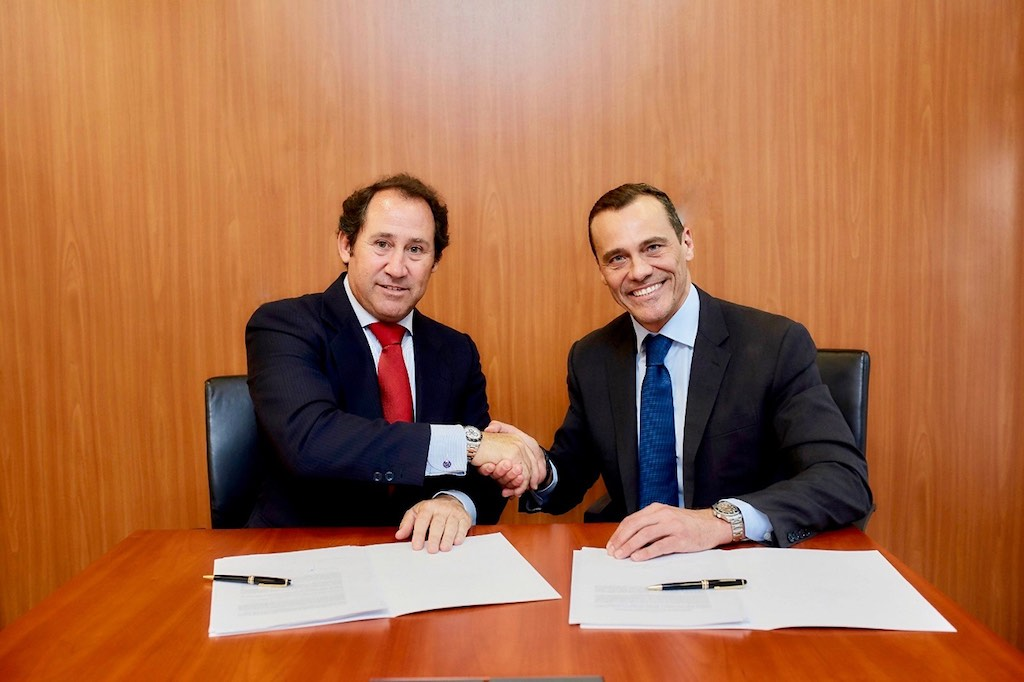 Berkshire Hathaway HomeServices LARVIA CEO Bruno Rabassa (left) with Claudio Prattico, Berkshire Hathaway HomeServices managing director, in Madrid.