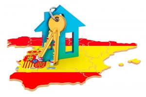 Map of Spain with a property and keys