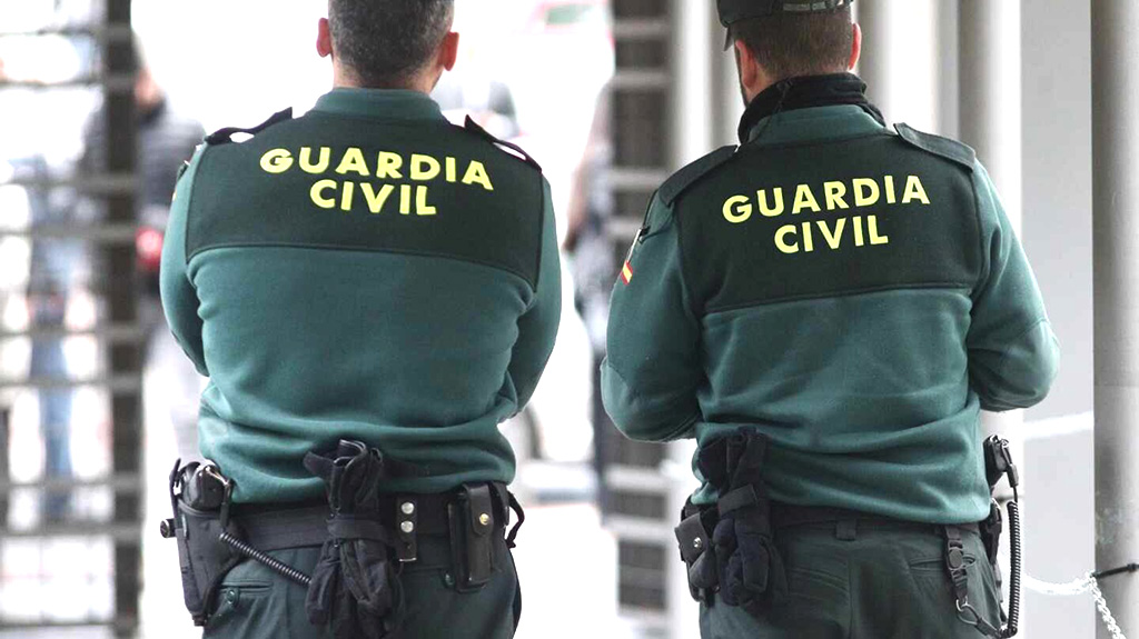 Guardia civil on duty during covid 19 lockdown on the Costa del Sol
