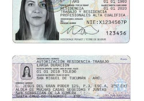 spanish residency permit example